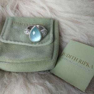JUDITH RIPKA Glowing Blue Doublet Pear Shape Ring